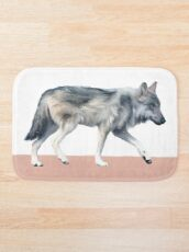 Wolf on Blush Bath Mat