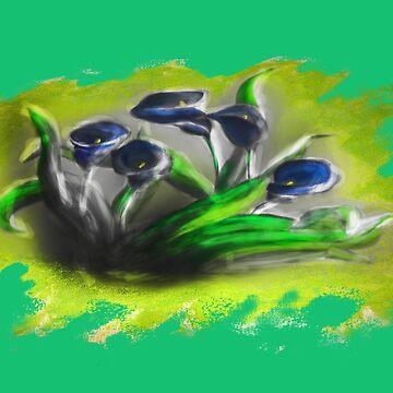 Acrylic Deep Blue Tulips  by jbChimchar