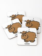 Heilan' Coo - with text Coasters