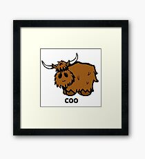 Heilan' Coo - with text Framed Print