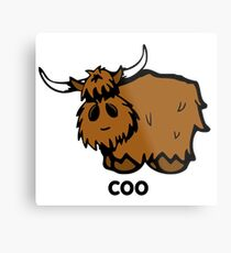 Heilan' Coo - with text Metal Print
