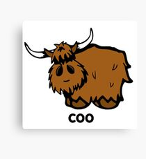 Heilan' Coo - with text Canvas Print