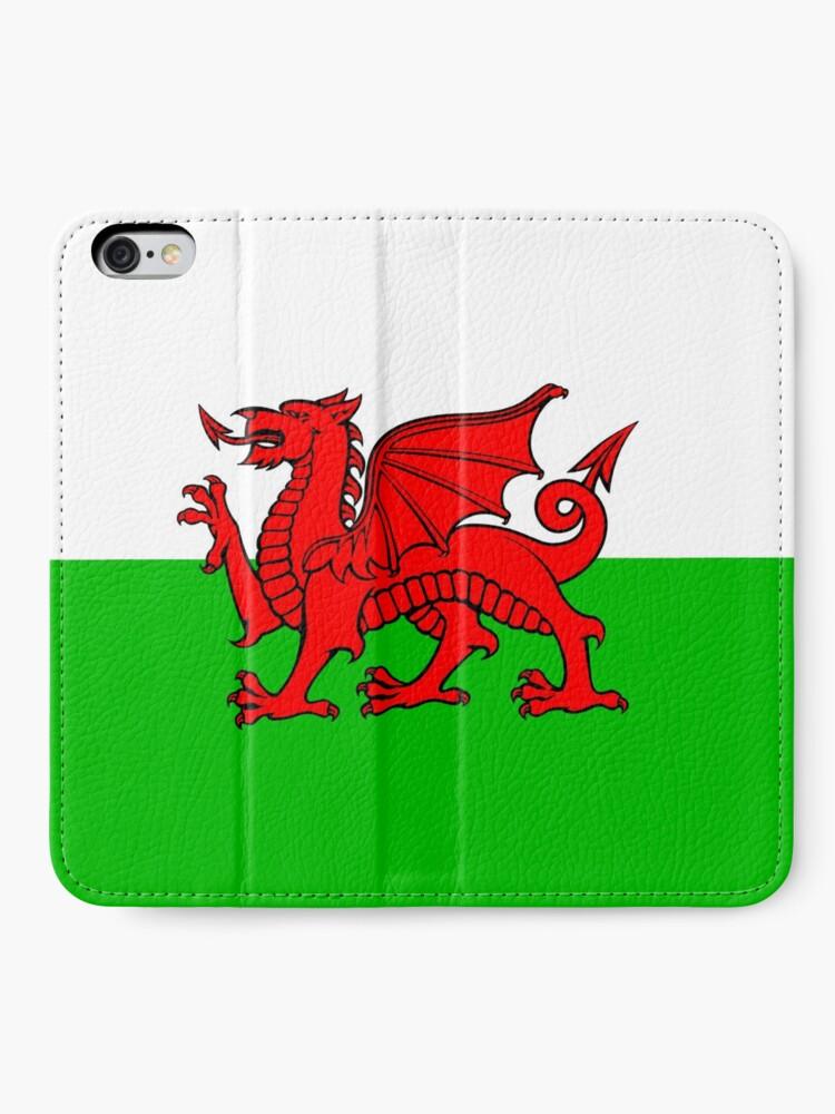 Alternative Ansicht von Wales-Flaggen-Waliser-Drache iPhone Flip-Case
