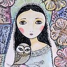 Angel with owl by sue mochrie