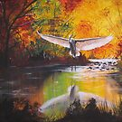 Autumn Egret by southshoreart