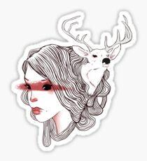 deer girl Sticker