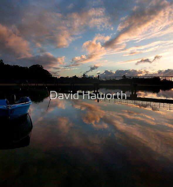 Blue Boat Red Dawn by David Haworth
