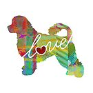 Portuguese Water Dog Love - A Bright and Colorful Watercolor Style Gift by traciwithani