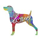 Weimaraner Love - A Bright and Colorful Watercolor Style Gift by traciwithani