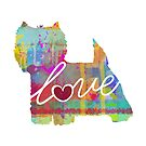 West Highland Terrier Love - A Bright and Colorful Watercolor Style Gift by traciwithani