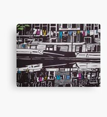 Washing line on a boathouse in Amsterdam Canvas Print