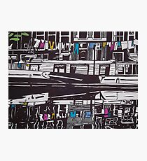 Washing line on a boathouse in Amsterdam Photographic Print