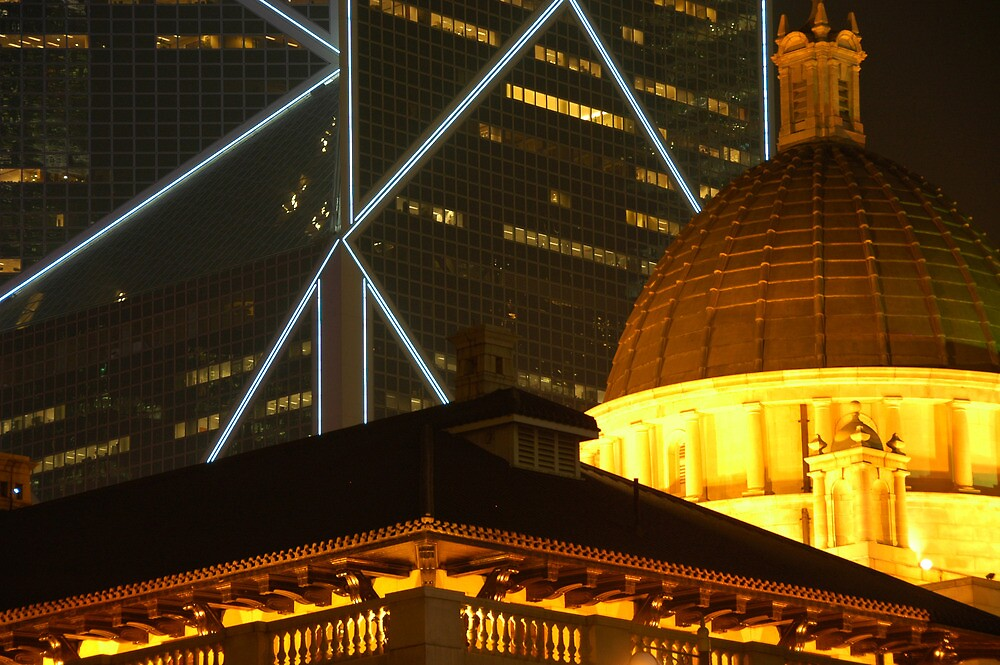 Bank of China and Colonial Building, Hong Kong by Stephen Tapply