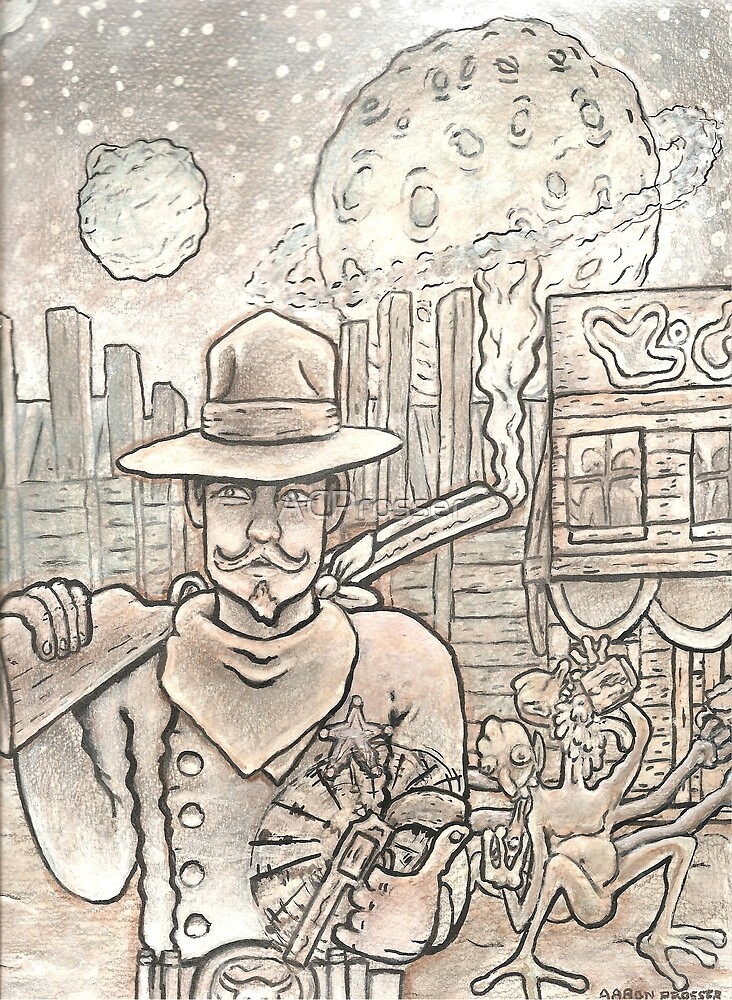 """Concept art for JOHNNY X. GRAVES,' """"Maurice 'The Space Cowboy' & The Great Alien-Zombie Stampede"""" by ACProsser"""