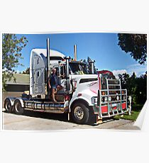 Truckie with his Kenworth T904 Poster