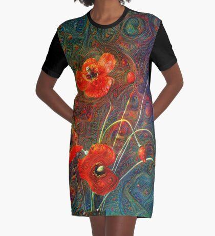 Poppies Graphic T-Shirt Dress