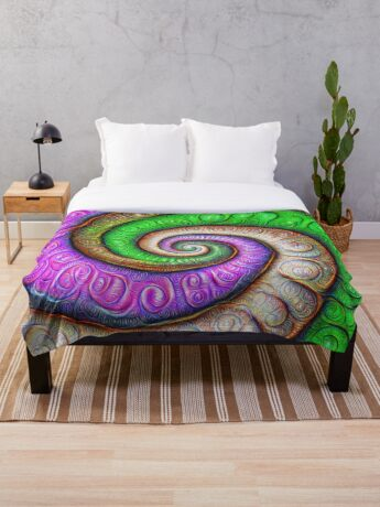 Fibonacci spiral #DeepDream #Art Throw Blanket