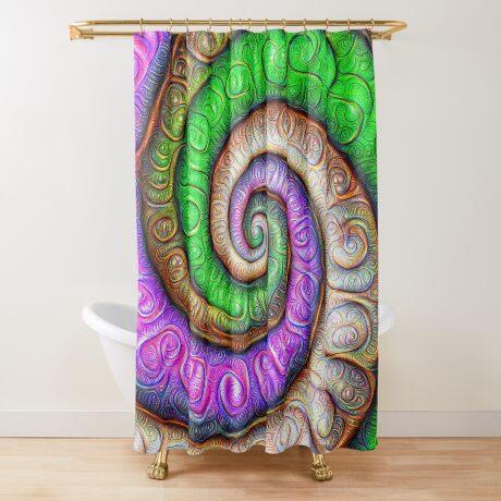 Fibonacci spiral #DeepDream #Art Shower Curtain