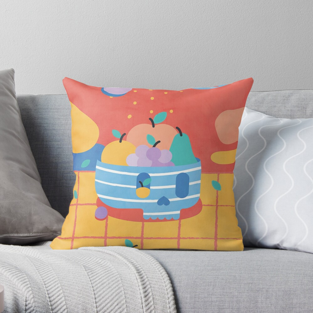 Skull Fruit Bowl Throw Pillow