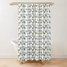 Cute Daily Stickers Shower Curtain