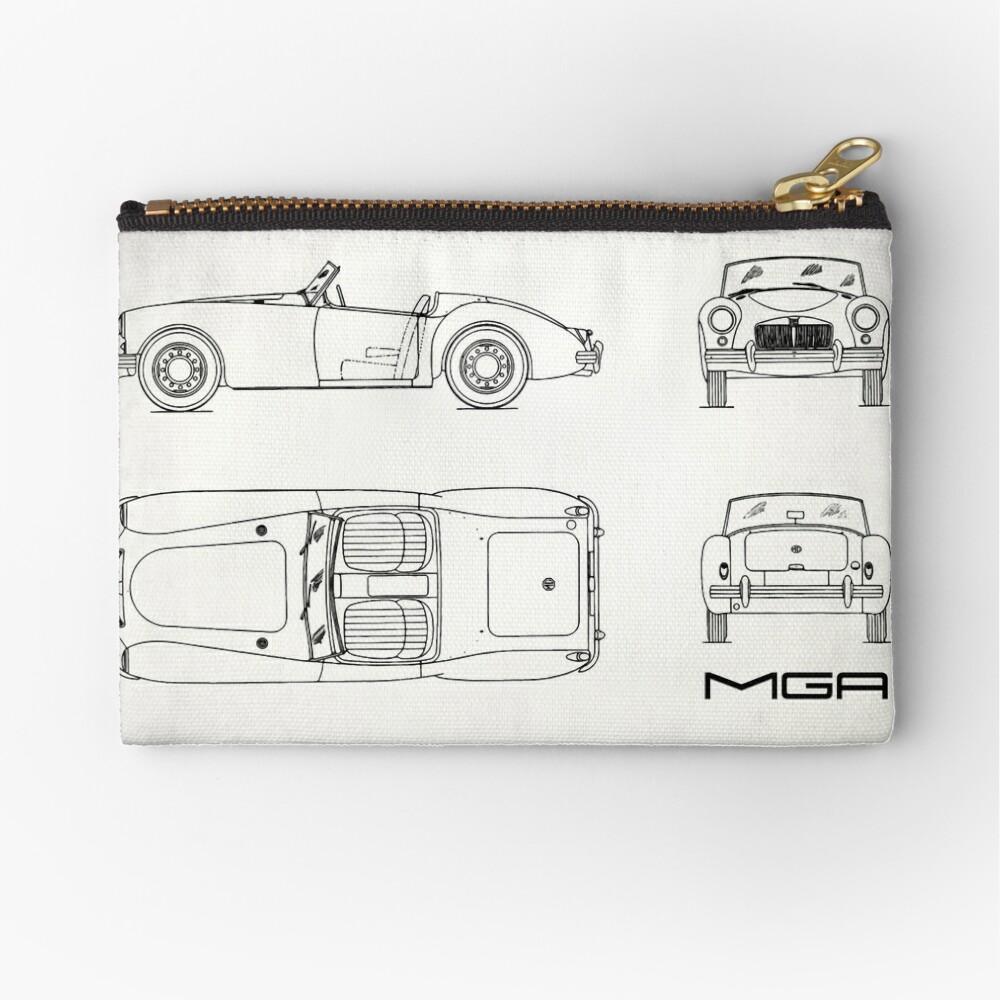 MGA Sports Car Blueprint   Zipper Pouch