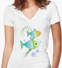 Blob says the fish Women's Fitted V-Neck T-Shirt
