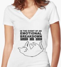 Emotional breakdown place cat here geek funny nerd Women's Fitted V-Neck T-Shirt
