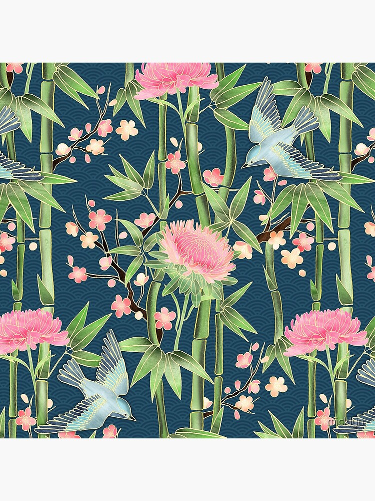 Bamboo, Birds and Blossom - dark teal by micklyn