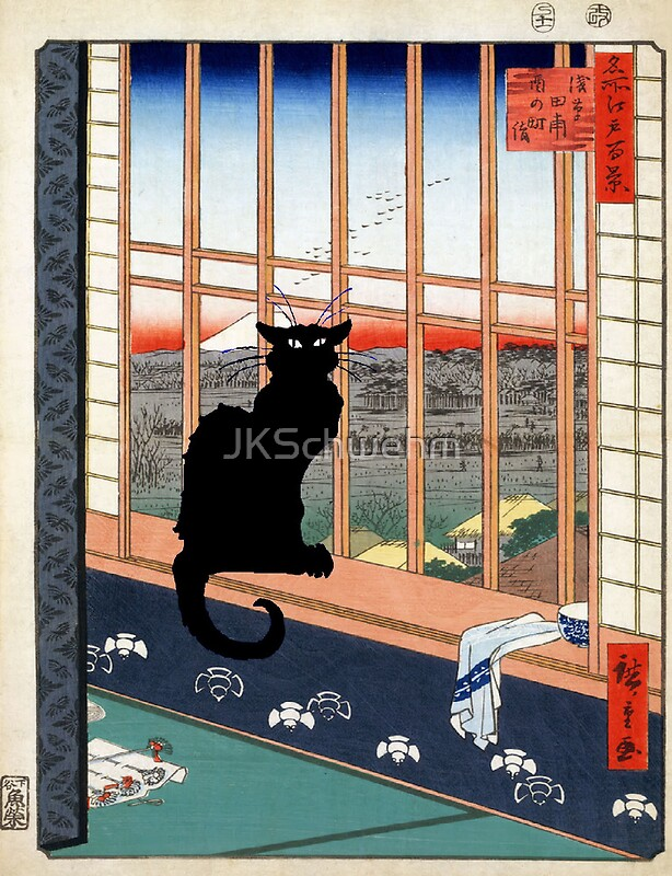 Just one asian print cat looking out window