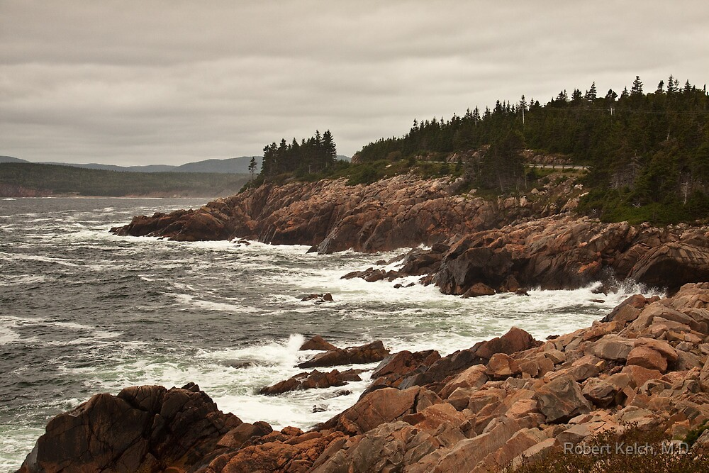 Raging wind and sea at Neil's Harbor, Cape Breton by Robert Kelch, M.D.
