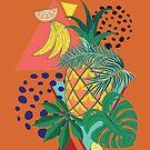 Abstrakte Ananas mit exotischen Blättern von AnnArtshock
