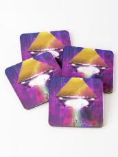Abduction (Tetra) - Retro Synthwave UFO Pyramid Coasters
