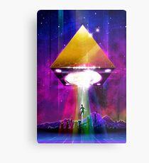 Abduction (Tetra) - Retro Synthwave UFO Pyramid Metal Print