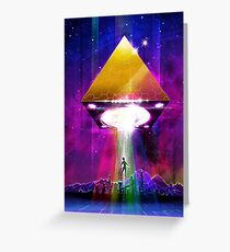 Abduction (Tetra) - Retro Synthwave UFO Pyramid Greeting Card