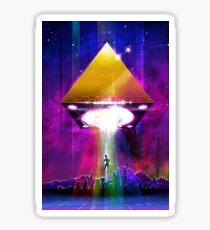 Abduction (Tetra) - Retro Synthwave UFO Pyramid Glossy Sticker