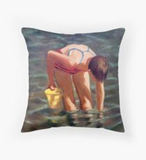At the Beach, Girl in Water with Yellow Pail Throw Pillow