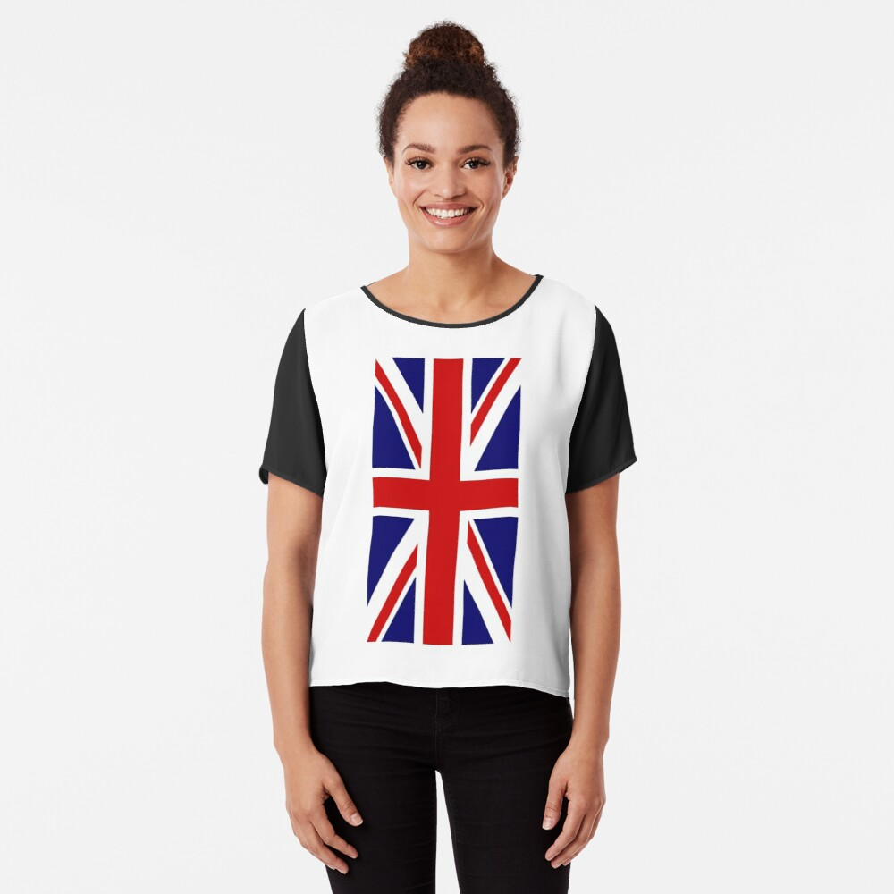 British, Union Jack, PORTRAIT, Flag, 1;2, UK, GB, United Kingdom, Pure & simple  Chiffon Top