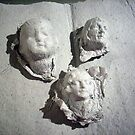 Three handmade paper heads by Leyh