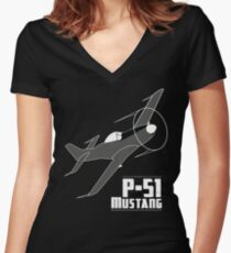 P-51 Mustang Women's Fitted V-Neck T-Shirt