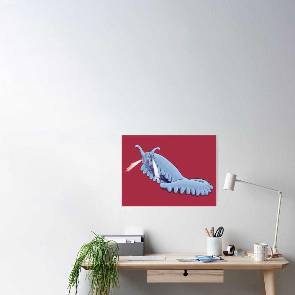 Blue Onychophora velvet worm  Poster