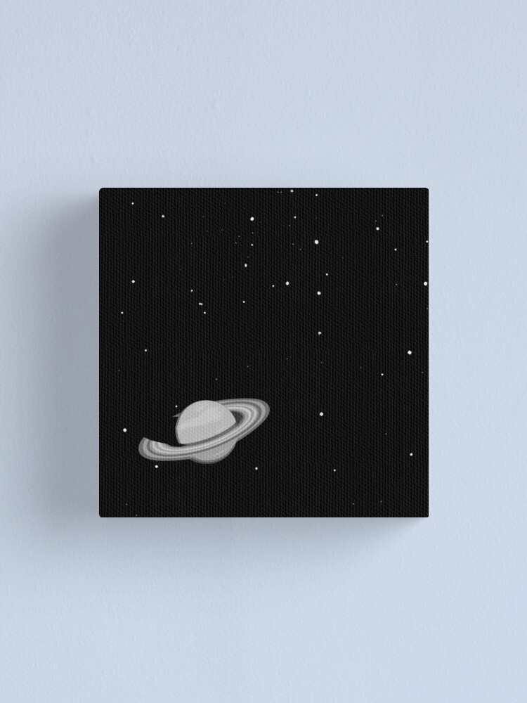 Alternate view of Black and White Saturn Canvas Print