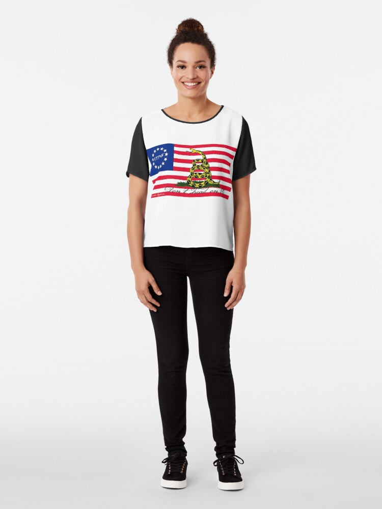Alternate view of Betsy Ross-Gadsden Flag Chiffon Top