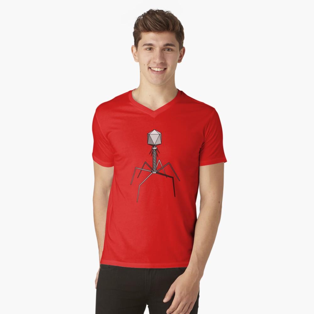 T4 bacteriophage virus V-Neck T-Shirt