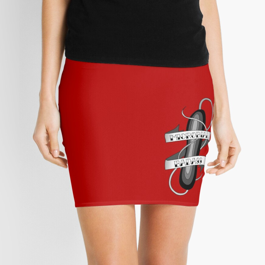 Microbial Badass Tattoo - black and white Mini Skirt