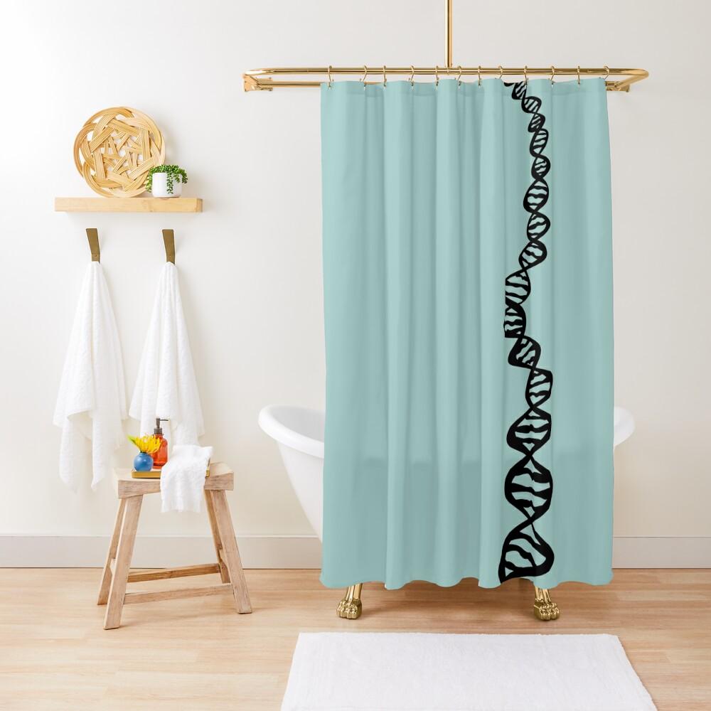 DNA strand - black Shower Curtain