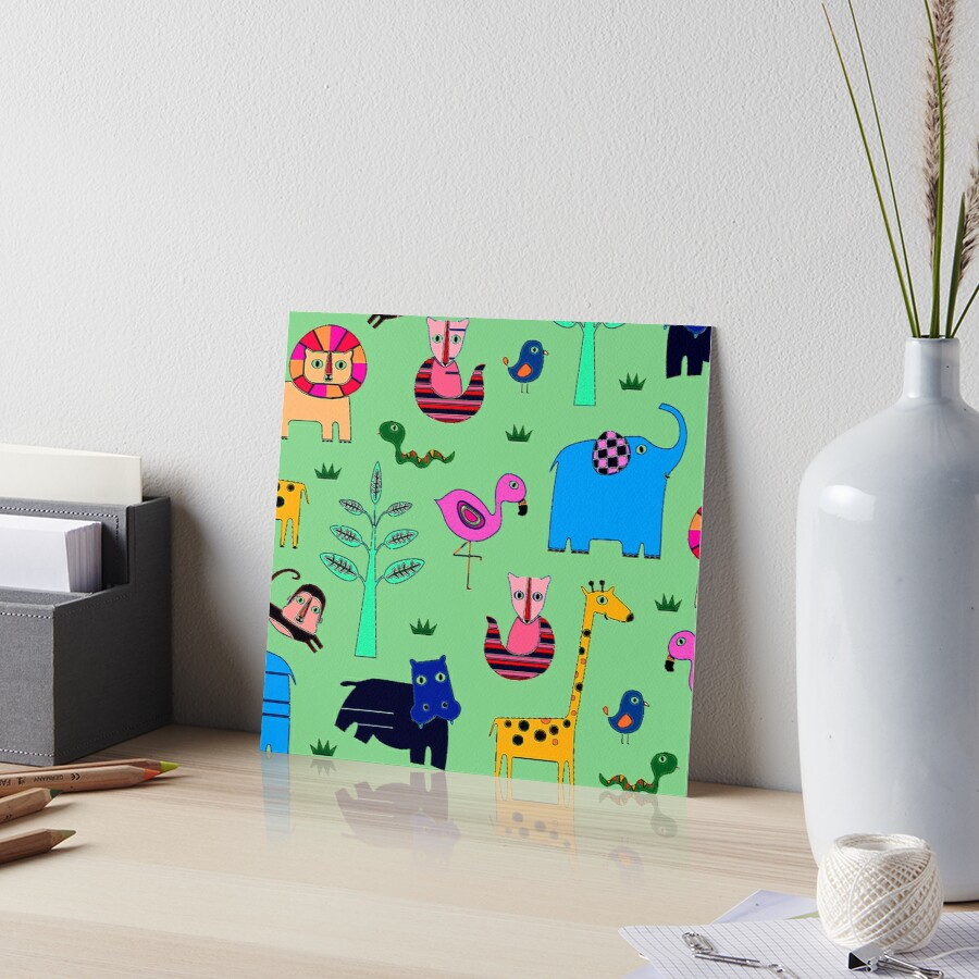 Zoo Animal and Pet Kids Nursery Play Print Art Board Print