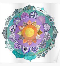 Community Mandala - Radiant Lotus Mandala Poster
