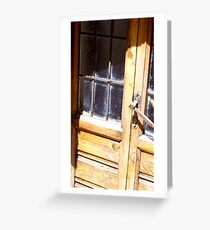 Glass windows and wood with a long handle Greeting Card