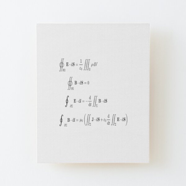Maxwell's equations, #Maxwells, #equations, #MaxwellsEquations, Maxwell, equation, MaxwellEquations, #Physics, Electricity, Electrodynamics, Electromagnetism Wood Mounted Print