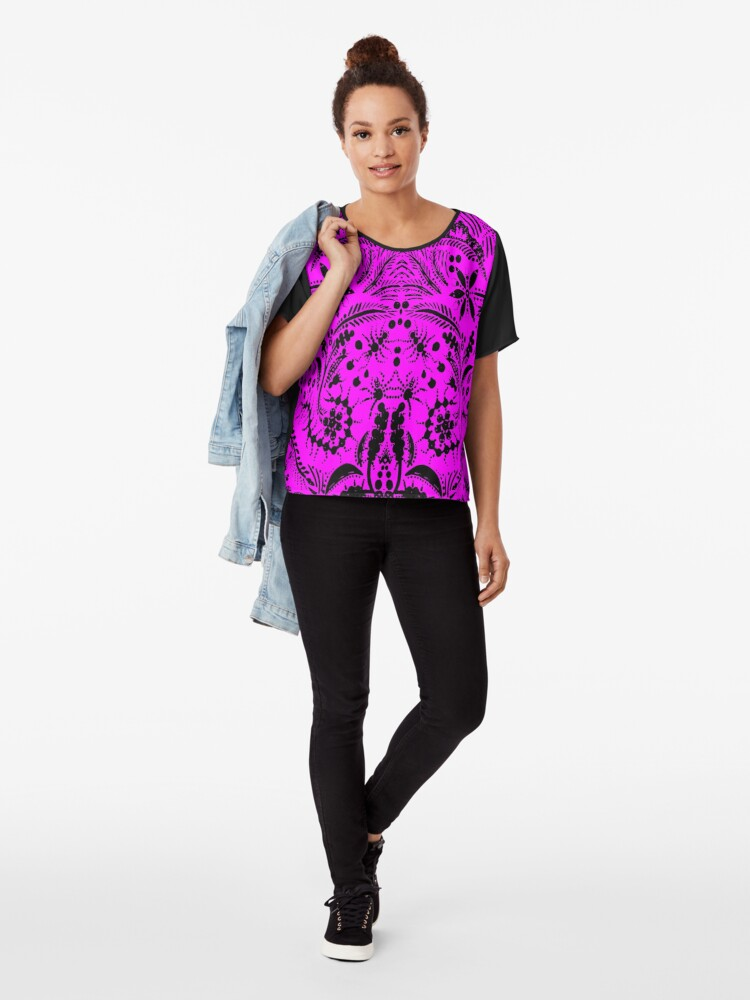 Alternate view of Black and Pink Jungle Chiffon Top